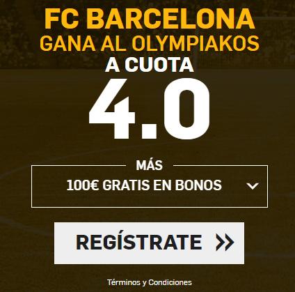 Supercuota Betfair Champions League Barcelona gana Olympiakos cuota 4.0