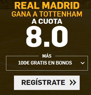supercuota Betfair Champions League R. Madrid gana Tottenham cuota 8.0