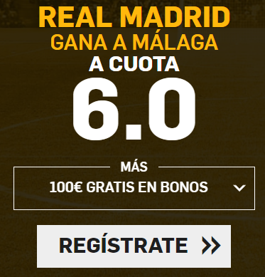 Supercuota Betfair la Liga - Real Madrid gana Malaga cuota 6.0