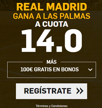 Supercuota Betfair la Liga Real Madrid gana a las palmas a cuota 14.0