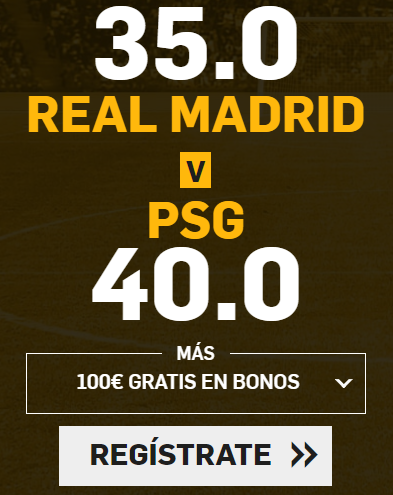 Supercuota Betfair Champions Real Madrid PSG
