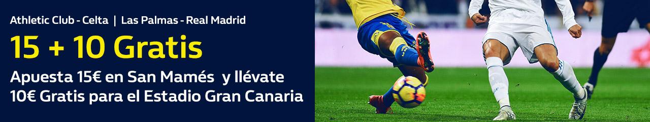 Apuestas Legales William Hill 15+10 gratis la Liga Athletic - Celta, Las Palmas -R. Madrid