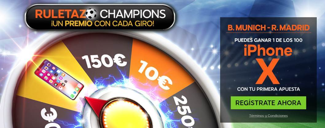 apuestas legales 888Sport Champions League B. Munich - R. Madrid gana un iphone X