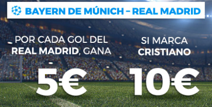 apuestas legales Paston Champions League: Bayern - Real Madrid, gana por cada gol del R. Madrid y Cristiano