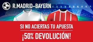 apuestas legales Sportium Champions Promo R.Madrid-Bayern: Apuesta y si fallas ¡50% Devolución!