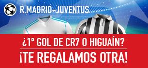 Apuestas Legales Sportium R.Madrid-Juventus: Si Ronaldo o Higuaín marcan el 1er Gol... ¡Devolución!