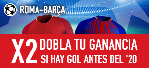 Apuestas Legales Sportium Champions Roma-Barcelona: Si hay gol antes del min. 20... ¡Doblamos tus ganancias!