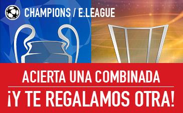 apuestas legales Sportium Champions y E.League: Acierta una combinada ¡Y te regalamos otra!