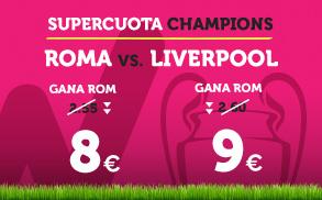 apuestas legales Supercuota Wanabet Champions League Roma vs Liverpool