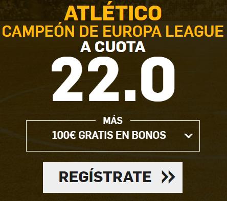 apuestas legales Supercuota Betfair Final Europa League Atlético gana a cuota 22.0